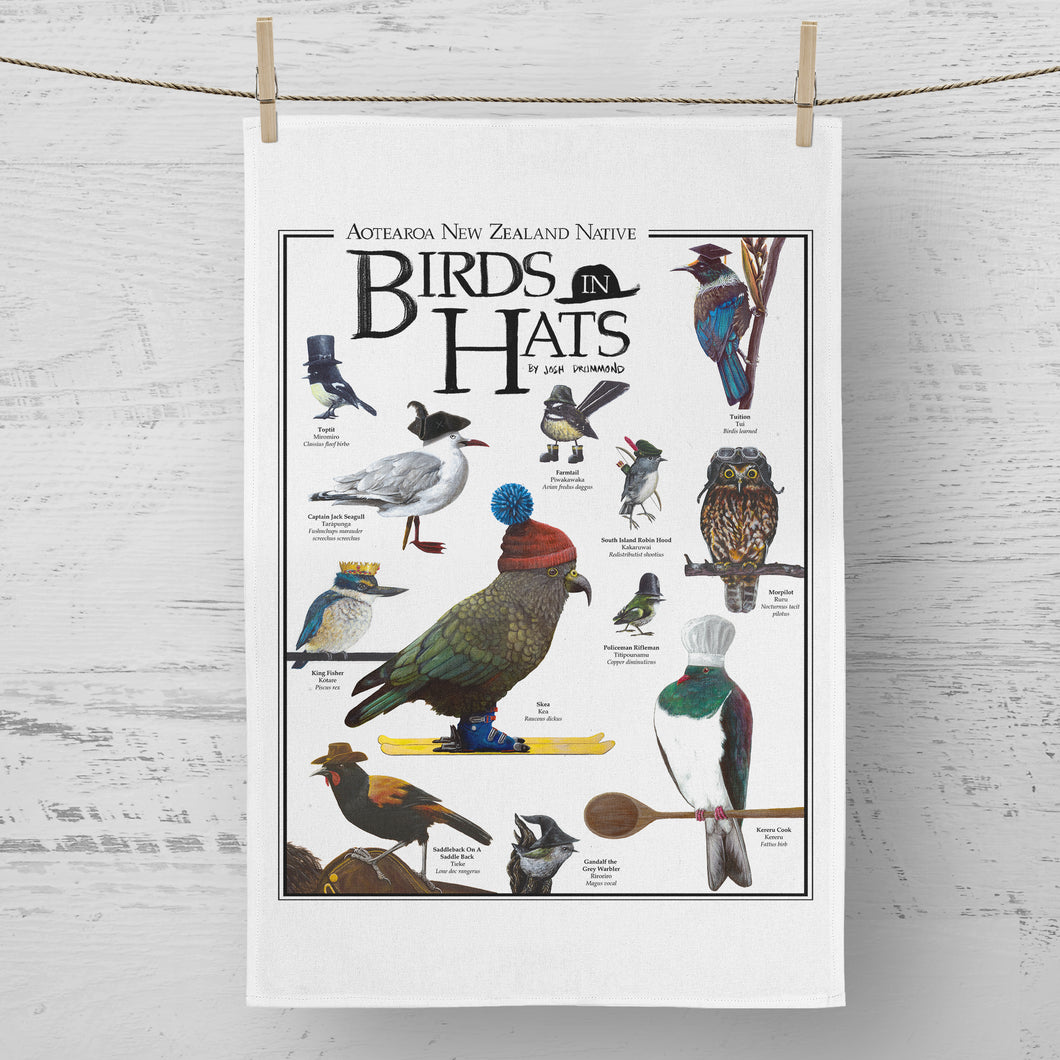 Aotearoa Native Birds in Hats - Tea Towel