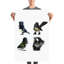 Four Small Birds In Hats - Matte Poster Print