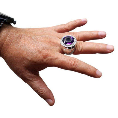 Amethyst Silver Bishop Ring