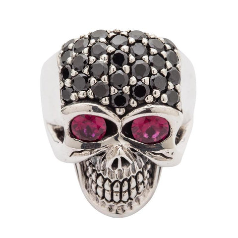 black stone forehead silver skull ring