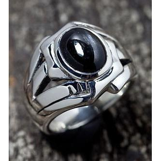 sterling silver black onyx mens ring