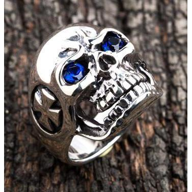blue eyes skull sterling silver ring