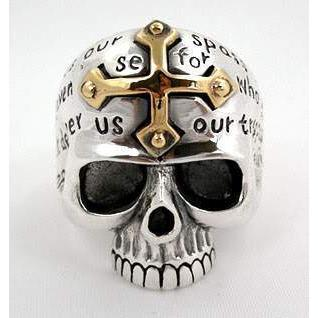 yellow gold cross skull ring