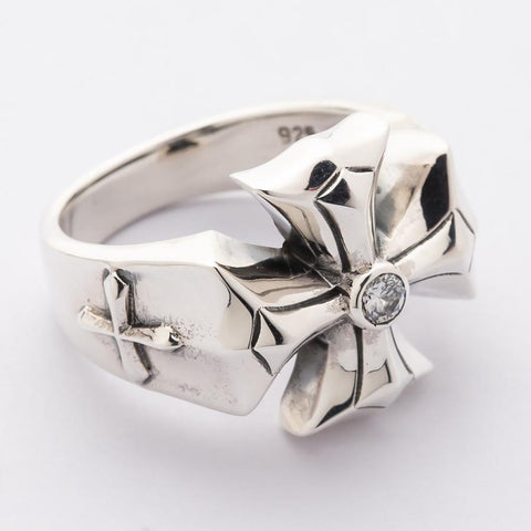 sterling silver cross men's ring
