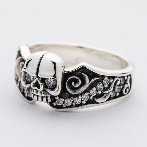 silver skull gothic engagement ring