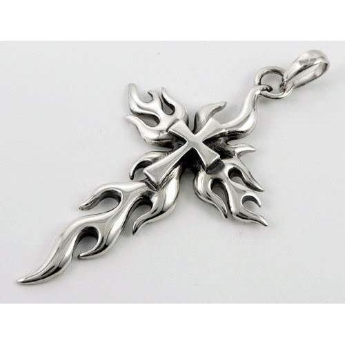 STERLING SILVER FLAME CROSS BIKER PENDANT