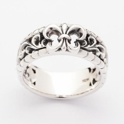 fleur silver band men's ring