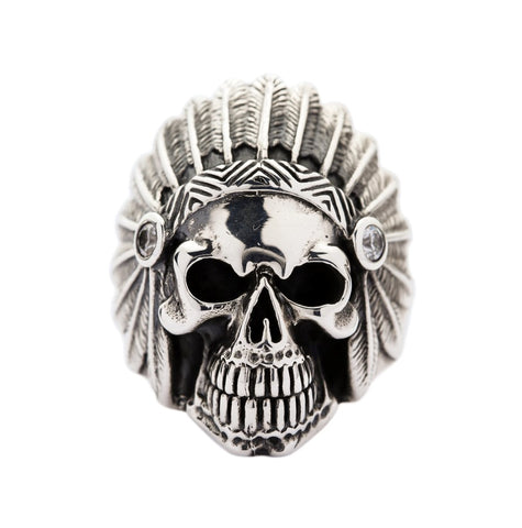 sterling silver indian head skull ring