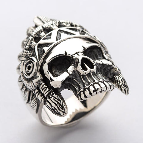 indian head skull ring