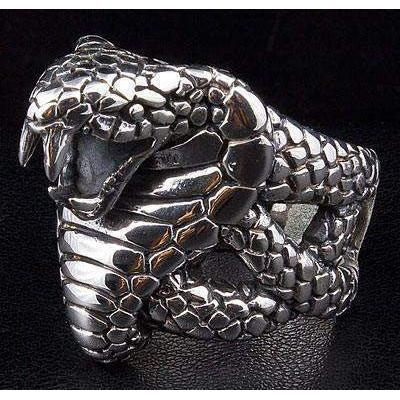 anello cobra in argento sterling