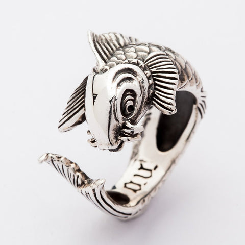 koi silver men's rings