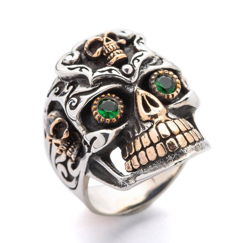 berdeng emerald eye mexican skull ring