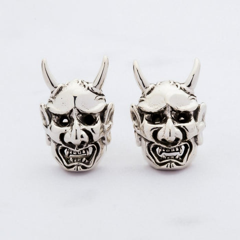 sterling silver Oni devil earrings