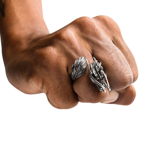 røde granatøjne sterling sølv dragon ring