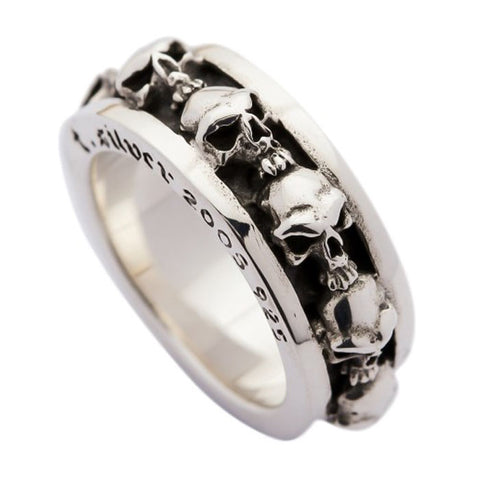 sterling silver stack skull ring