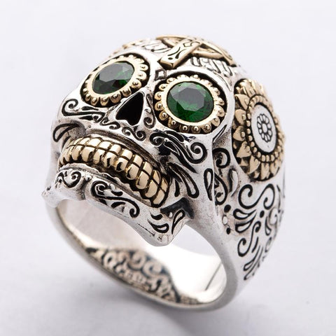 green eyes stone sugar skull ring