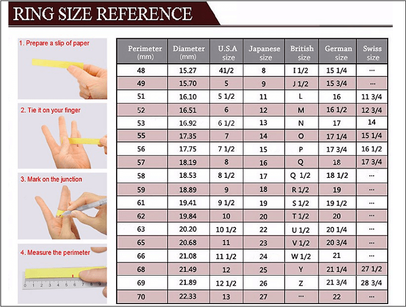 Image result for Ring size measurement table