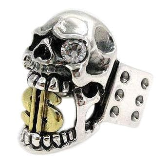 14k Yellow Gold Dollar Sign Skull Ring