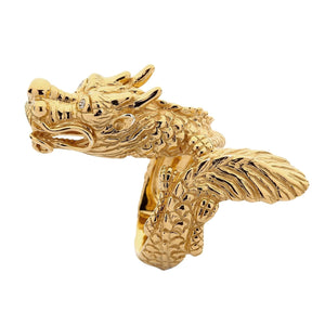 handmade yellow gold dragon ring