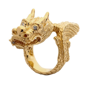 Solid 14k yellow gold dragon men's ring