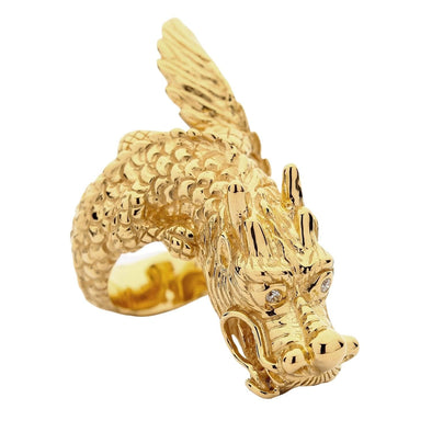 14K Yellow Gold Dragon Ring