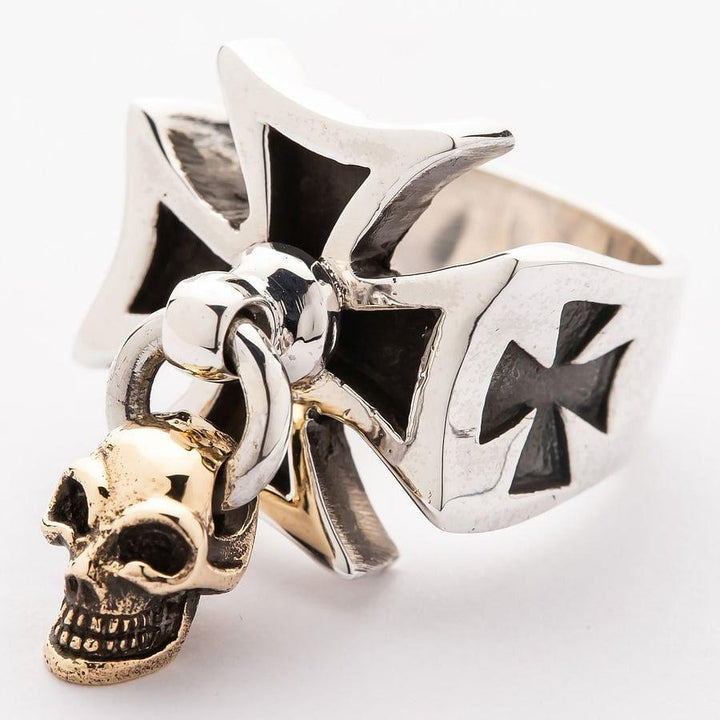gold skull dangle iron cross ring