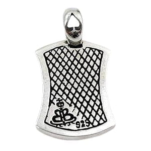 Sterling Silver Ace Spade Mens Dog Tag Pendant