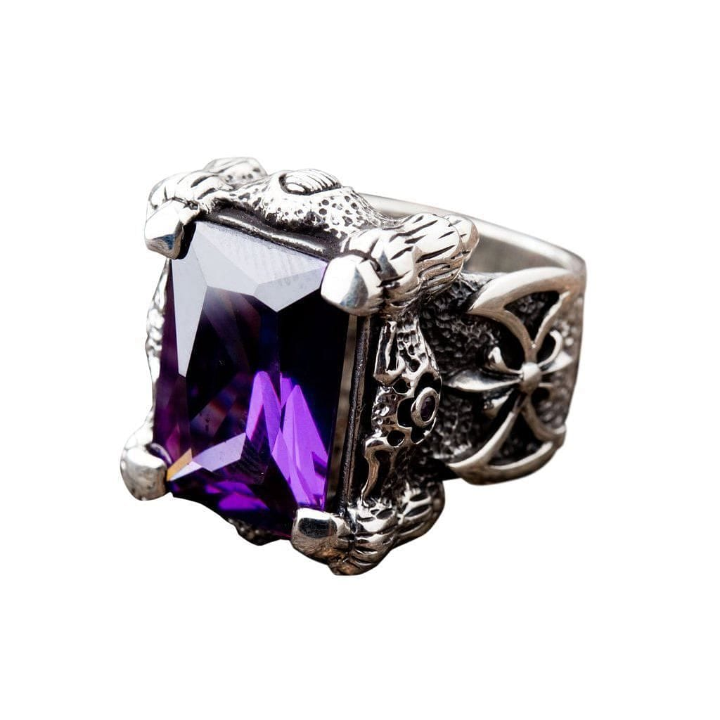 gemstone silver sterling fine from purple big in ring exaggeration cut amethyst rings item for jewelry women engagement wedding