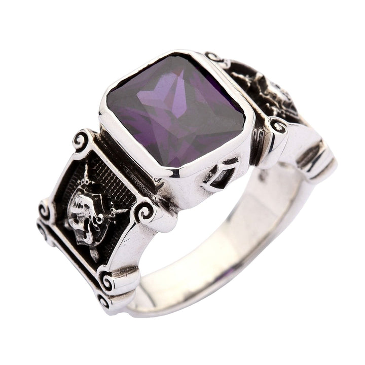 925 Sterling Silver Amethyst Knight Medieval Ring