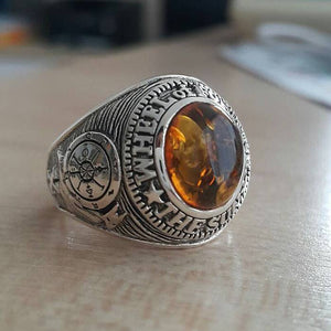 sterling silver amber men's ring
