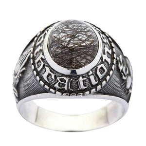 Sterling Silver Amulet Black Rutile Quartz Ring