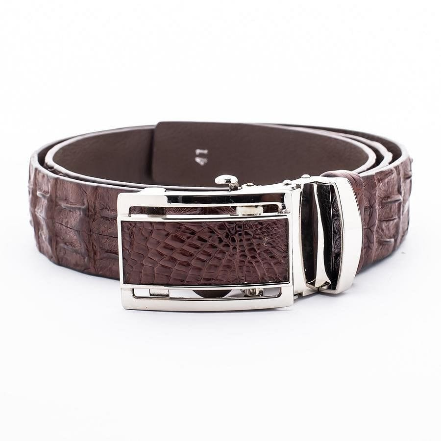 Backbone Dark Brown Crocodile Leather Belt