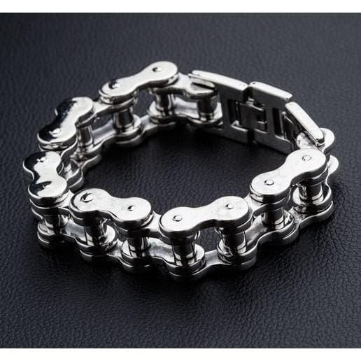 bike chain sterling silver men's bracelet