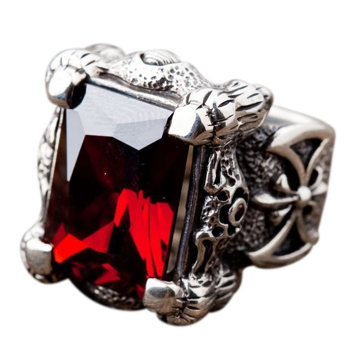 Sterling Silver Big Men's Garnet Rings