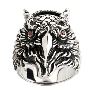 Sterling Silver Red Eyes Owl Ring