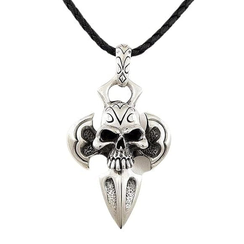 925 sterling silver big skull pendant necklace bikerringshop big skull pendant necklace mozeypictures Gallery
