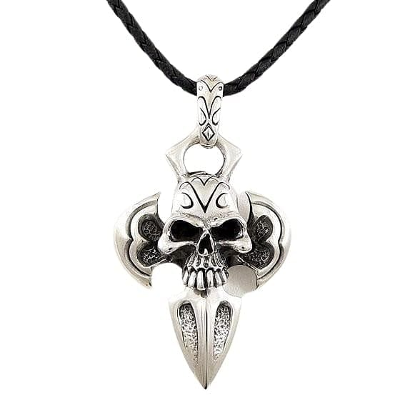 silver armor skull pendant leather necklace