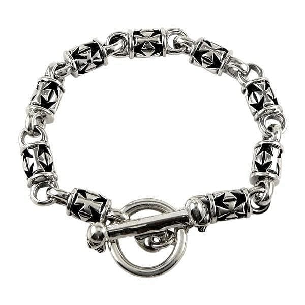 sterling silver iron cross bracelet for men