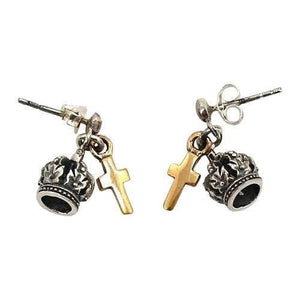 crown cross biker earrings