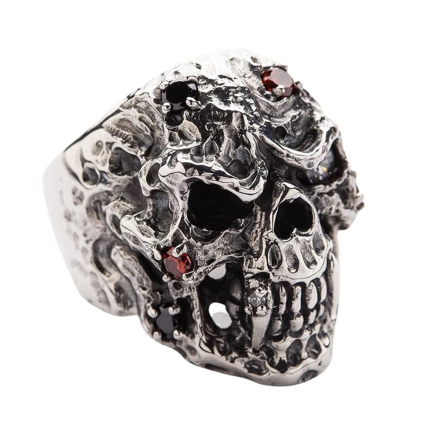 Sterling Silver Diamond Skull Vampire Ring
