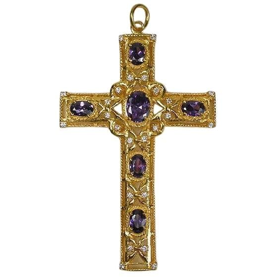 Amethyst yellow gold bishop cross