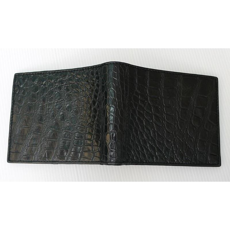 black bifold crocodile mens wallet