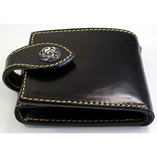 black genuine cowhide leather biker wallet