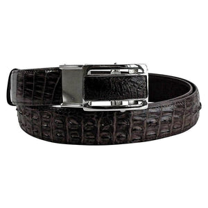 black crocodile tail leather belt for men