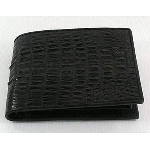 black bifold crocodile wallet for men