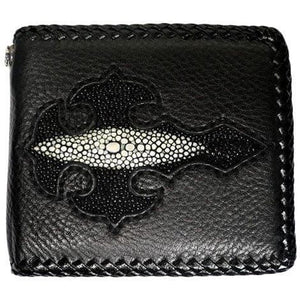 itim na cross stingray leather biker wallet