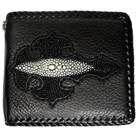 black cross stingray leather biker wallet
