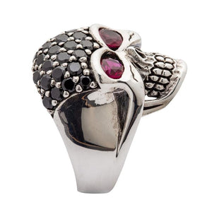 Black forehead sparkling skull ring