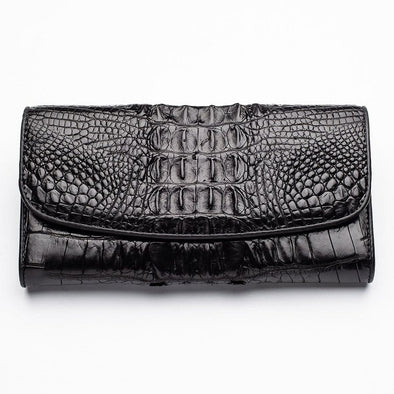 Black Genuine Crocodile Big Tail Skin Womens Wallet