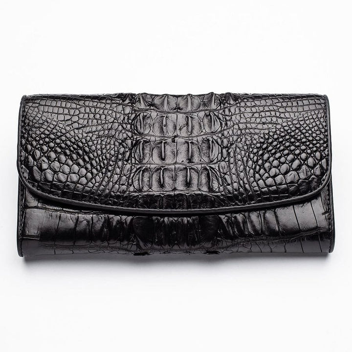 tail crocodile skin long trifold wallet